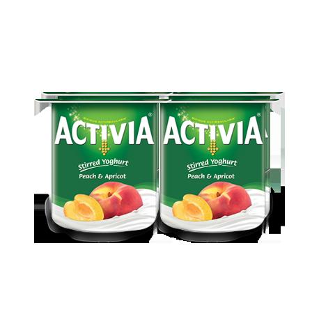 Activia Stirred Peach & Apricot Full Fat Yogurt 4x120G