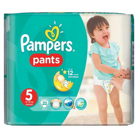 Pampers Pants 5, Junior 12-18 kg, 22 Diapers