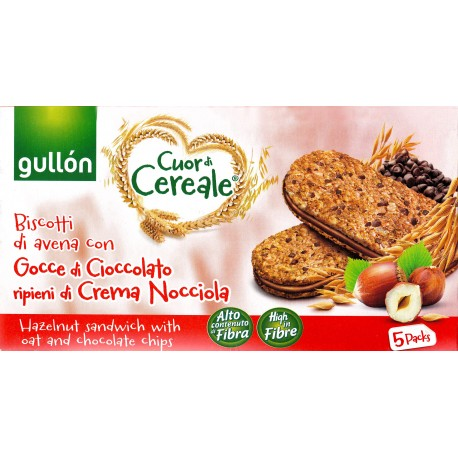 Gullon Cuor Di Cereale Hazelnut Sandwich with Oat and Chocolate Chips Box 220gm