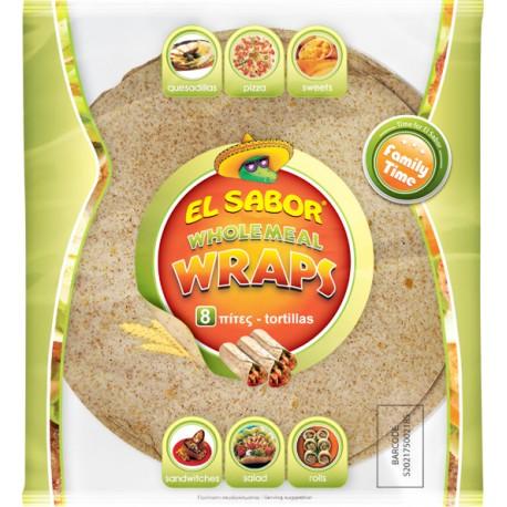 El Sabor Wholemeal Wraps 8x8 360gm