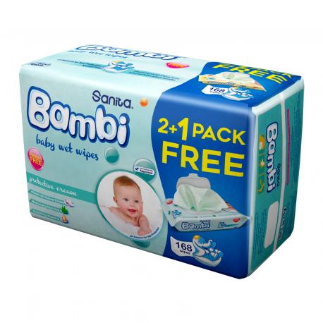 Sanita Bambi Wet Wipes Protective Cream 56 Sheets 2+1 Free