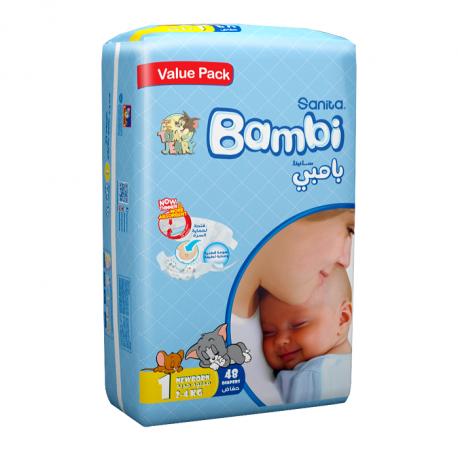 Sanita Bambi, Size 1, New Born, 2-4 Kg, Value Pack, 48 Count