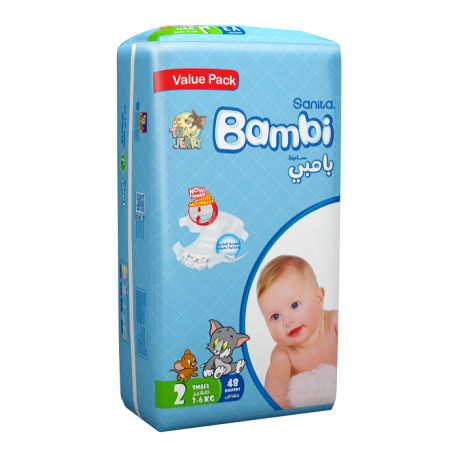 Sanita Bambi, Size 2, Small, 3-6 Kg, Value Pack, 48 Count