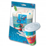 Fun 20 Paper Tumbler with Lids & Straw 350ml