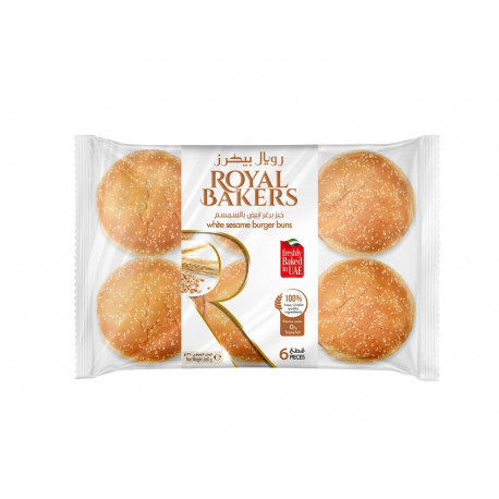 Royal Bakers White Sesame Burger Buns 6 Pieces 360G