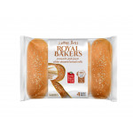 Royal Bakers White Bread Rolls with Sesame Medium 4 Pieces 260G