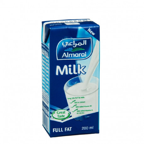 Almarai Long Life Milk UHT Full Fat With Added Vitamins 200ml