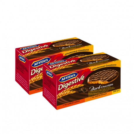 Mcvities Digestive Biscuits Dark Chocolate 2x200g
