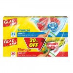 Glad Freezer 25 & Storage 20 Medium Size Zipper Bag