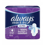 Always Clean & Dry 8 Ultra Thin Large Pads