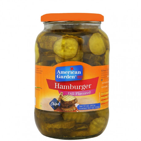 American Garden Pickled Cucumber Slices Hamburger Flavored Dill 907G