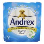 Andrex Classic 9 White Toilet Tissue Rolls