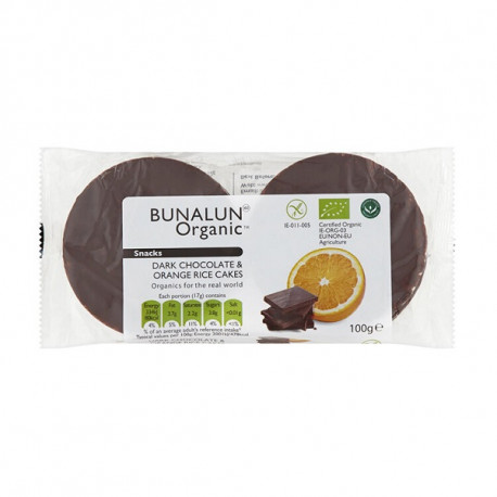Bunalun Organic 4 Dark Chocolate & Orange Rice Cakes 100G