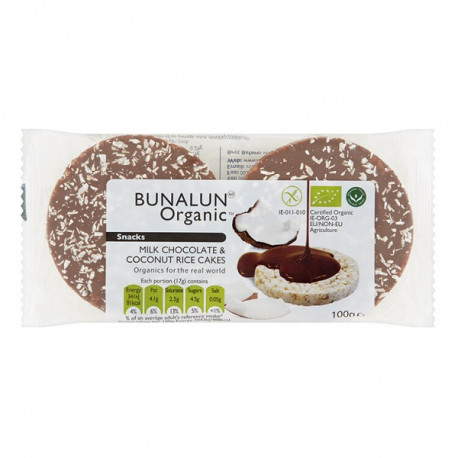 Bunalun Organic 4 Milk Chocolate & Coconut Rice Cakes 100G