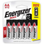 Energizer Max Alkaline Battery AA Pack 6 Pieces
