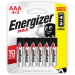 Energizer Max Alkaline Battery AAA 6 Pieces