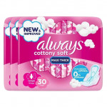 Always Cottony Soft Maxi Thick Large Pads 30x3 Packs