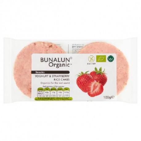Bunalun Organic Snacks Yoghurt & Strawberry Rice Cakes 100G