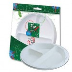 Fun 25 Disposable 3-Comp Plastic Plates 26cm