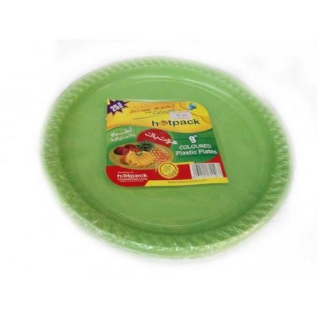 "Hotpack Plastic Plates 9"" 25Pcs Coloured"
