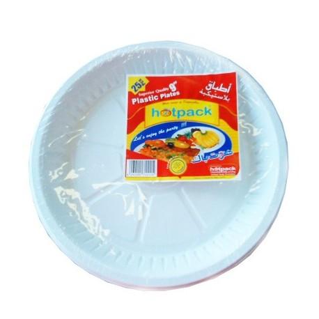 "Hotpack Plastic Plates 9"" 25Pcs"