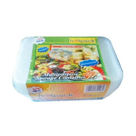 Hotpack Multipurpose Reusable Microwave Containers 500ml 5Pcs