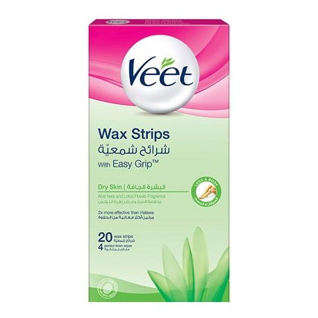 Veet 20 Wax Strips with Easy Grip for Dry Skin