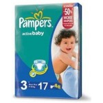 Pampers Active Baby Dry 3 Medium, 5-9kg, 17 Diapers